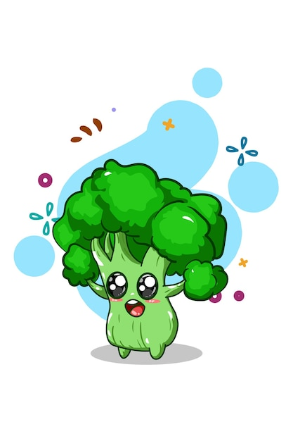Ilustração de brócolis bonito desenho à mão Vetor Premium