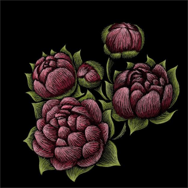 Ilustração de buquê de peônias de flores Vetor Premium