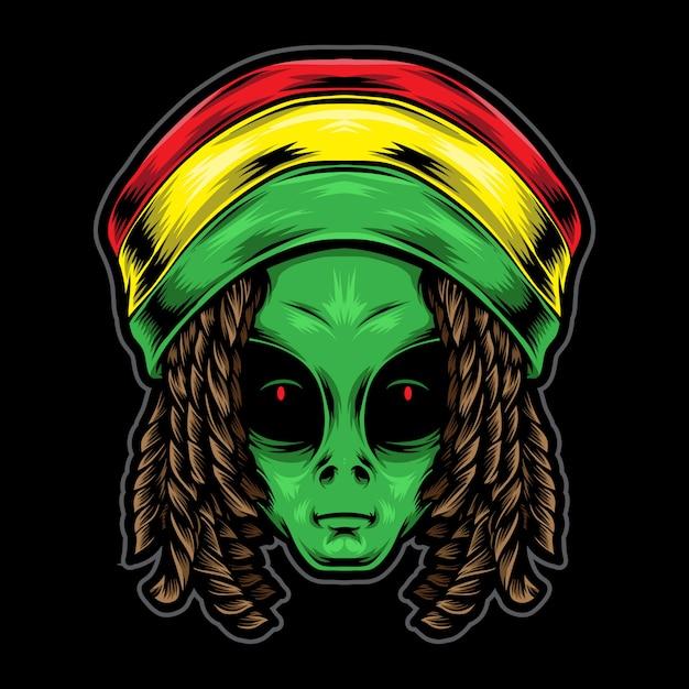 Ilustração de cabeça alienígena de reggae Vetor Premium