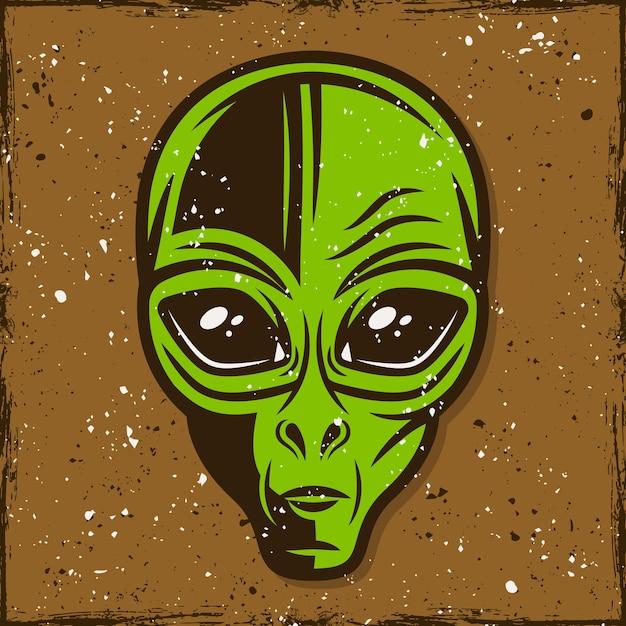 Ilustração de cabeça alienígena verde, impressão de camiseta em estilo vintage Vetor Premium