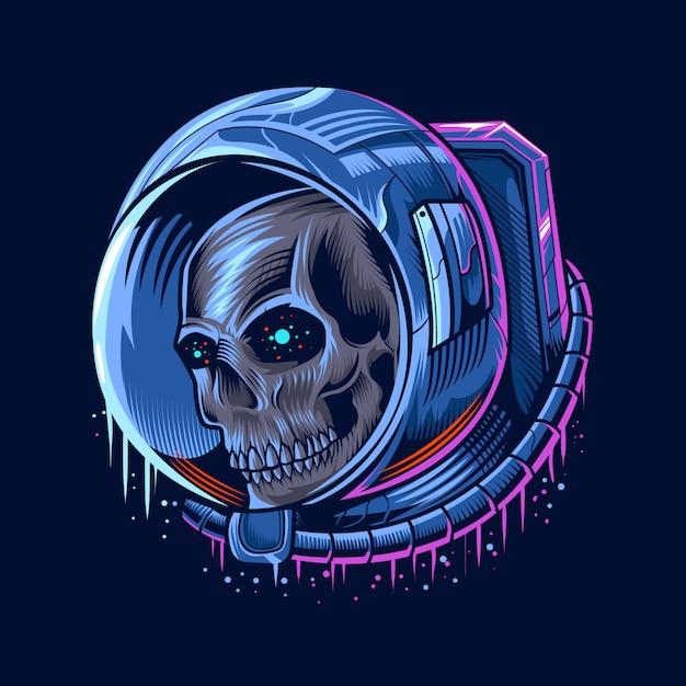 Ilustração de cabeça de astronauta caveira Vetor Premium