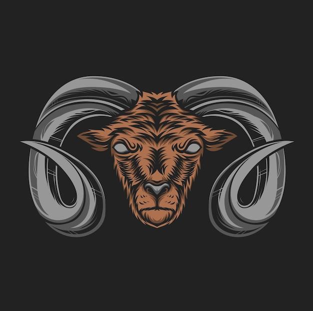 Ilustração de cabeça de cabra montesa com chifres Vetor Premium
