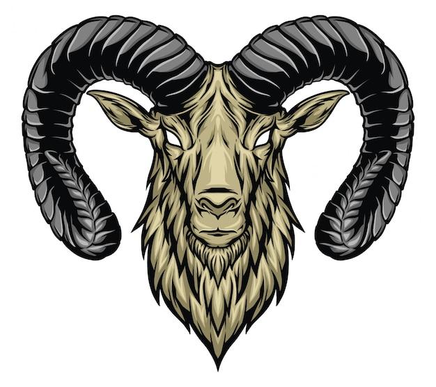 Ilustração de cabeça de cabra Vetor Premium