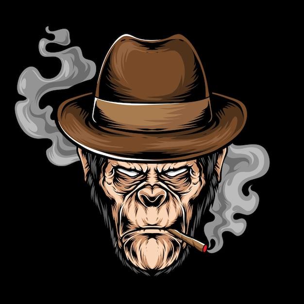 Ilustração de cabeça de gorila de fumar Vetor Premium