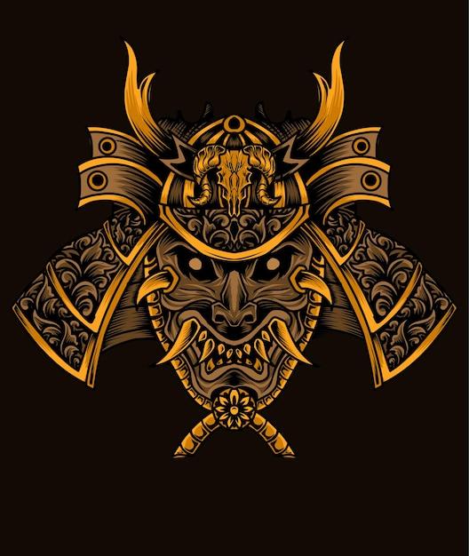Ilustração de cabeça de guerreiro samurai Vetor Premium