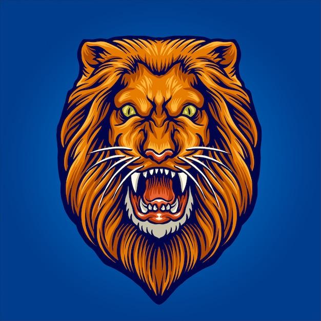 Ilustração de cabeça de leão Vetor Premium