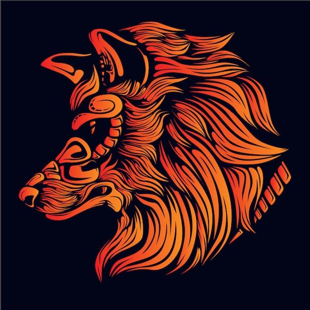 Ilustração de cabeça de lobo laranja Vetor Premium