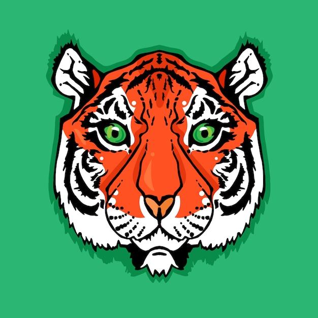Ilustração de cabeça de tigre isolado no estilo vintage para têxteis, impressão e tatuagem Vetor Premium