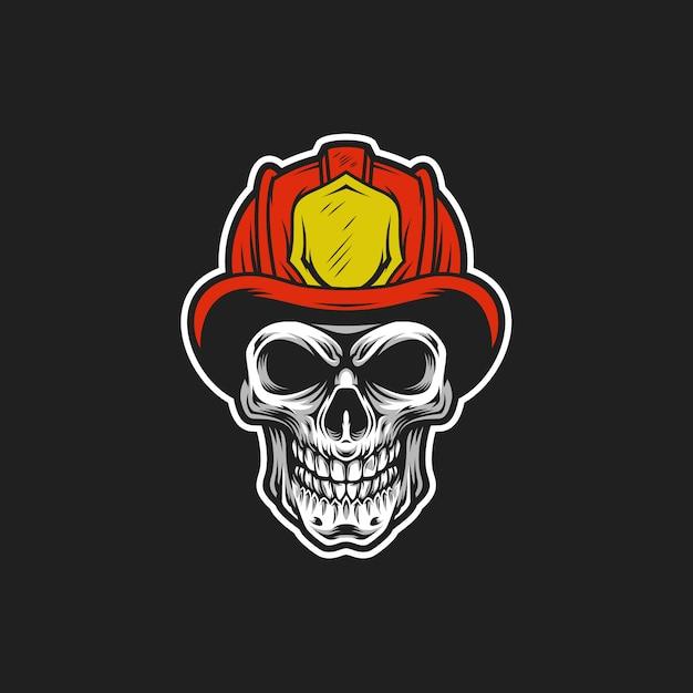 Ilustração de cabeça de vetor de crânio de bombeiro Vetor Premium