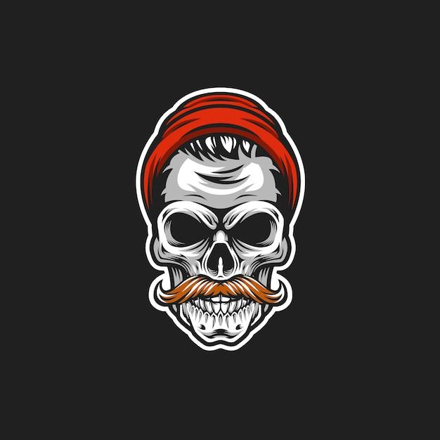 Ilustração de cabeça de vetor de crânio hipster Vetor Premium