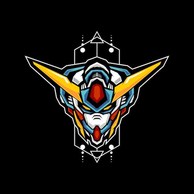 Ilustração de cabeça geométrica de robô Vetor Premium