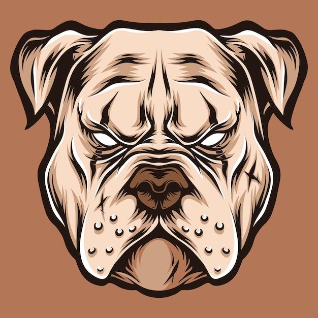 Ilustração de cabeça logo pitbull Vetor Premium