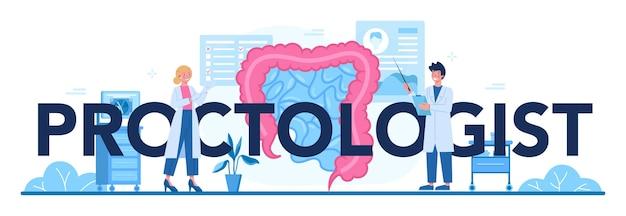 Ilustração de cabeçalho tipográfico de proctologista Vetor Premium