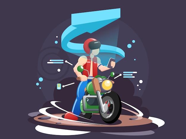 Ilustração de cabeçalho web motociclistas Vetor Premium