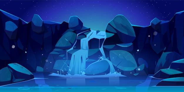 Ilustração de cachoeira e pedras à noite Vetor grátis