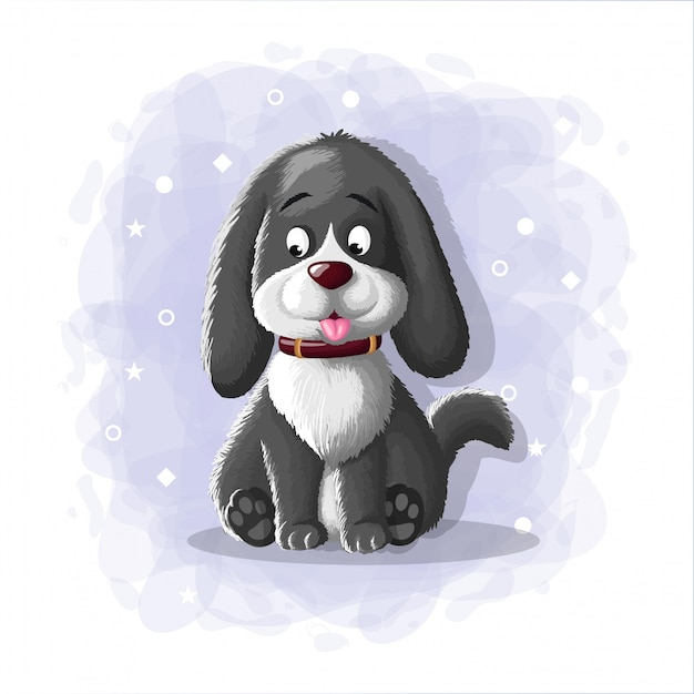 Ilustração de cachorro bonito dos desenhos animados Vetor Premium