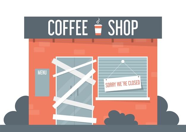 Ilustração de cafeteria fechada Vetor Premium