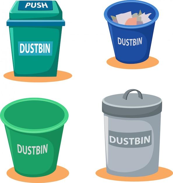 Ilustração de caixote do lixo Vetor Premium