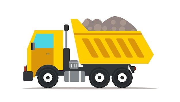 Ilustração de caminhão basculante, elemento de design isolado de maquinaria pesada profissional Vetor Premium