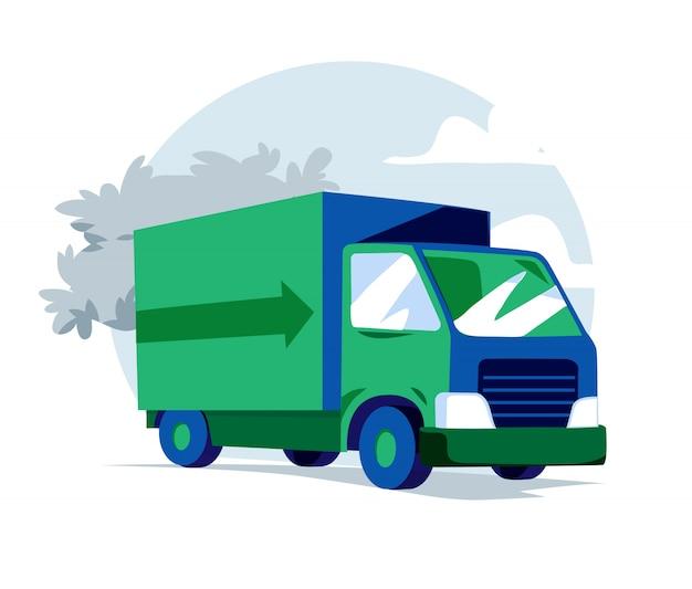 Ilustração de caminhão verde e azul Vetor Premium