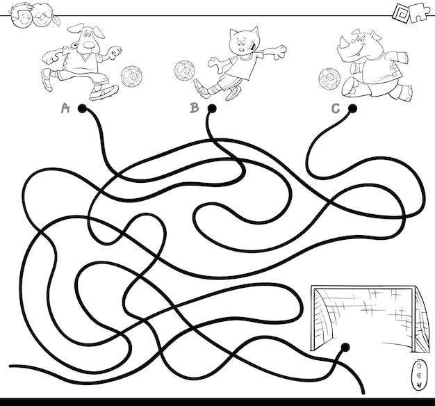 Ilustração, de, caminhos, ou, labirinto, enigma, atividade, jogo, com, futebol, animais Vetor Premium