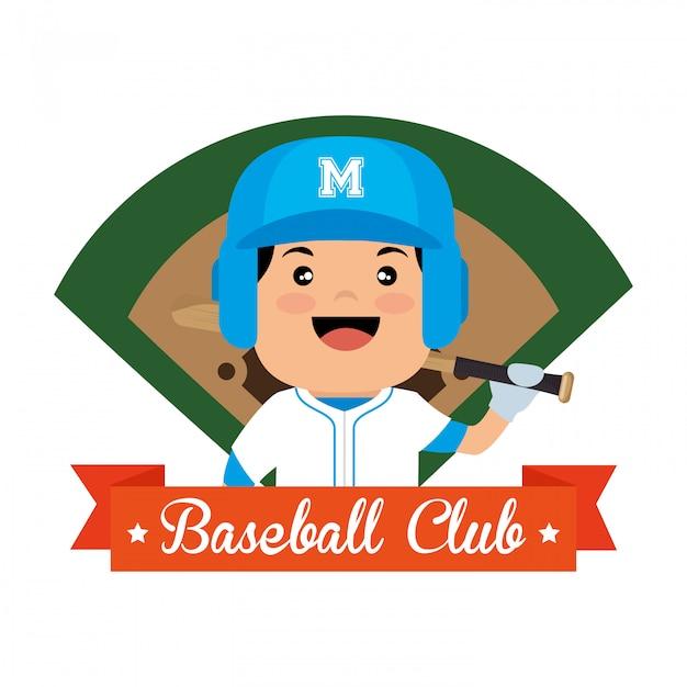 Ilustração de campo de jogador de clube de beisebol Vetor grátis