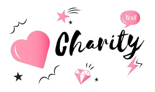 Ilustração, de, caridade, apoio Vetor grátis