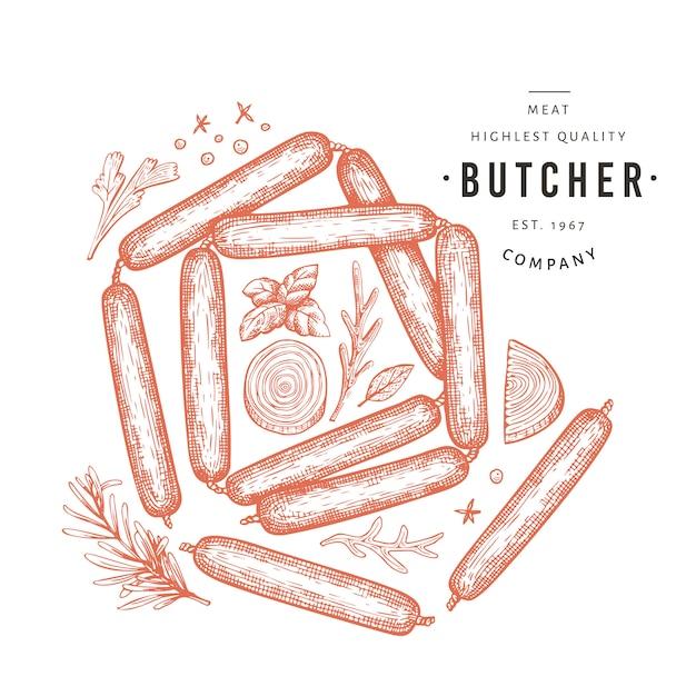 Ilustração de carne retrô vector. mão desenhada salsichas, especiarias e ervas. ingredientes alimentares crus. esboço vintage Vetor Premium