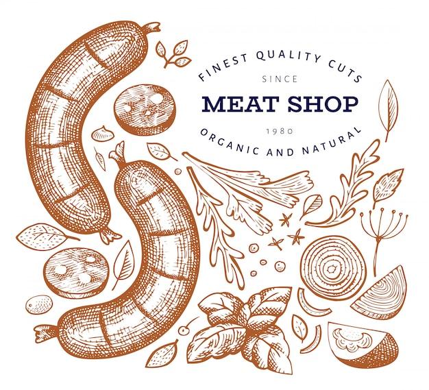 Ilustração de carne retrô vector Vetor Premium