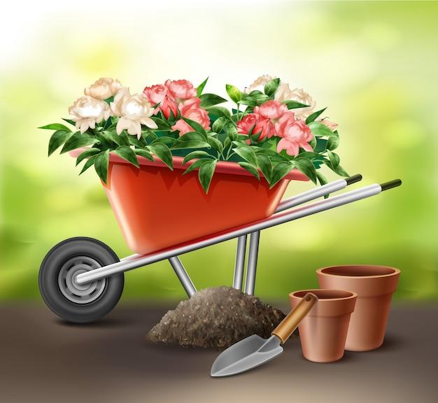Ilustração de carrinho de mão vermelho cheio de flores com espátula e vasos Vetor Premium