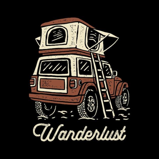 Ilustração de carro de acampamento offroad Vetor Premium