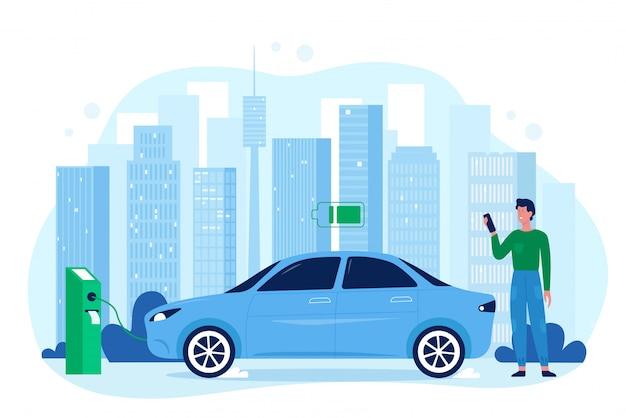 Ilustração de carro elétrico moderno eco auto. personagem de motorista de desenho animado homem feliz parado na estação do carregador, carregando bateria de automóvel do veículo, salvar tecnologia ecológica isolada Vetor Premium