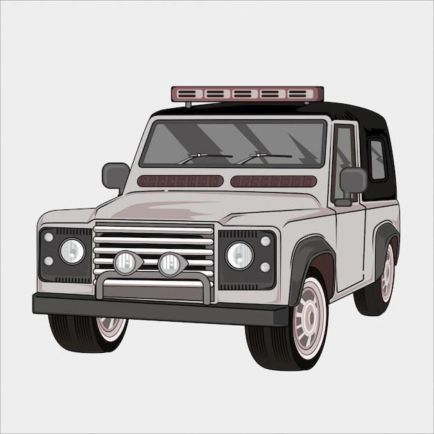 Ilustração de carro retrô, vintage clássico 4x4 Vetor Premium
