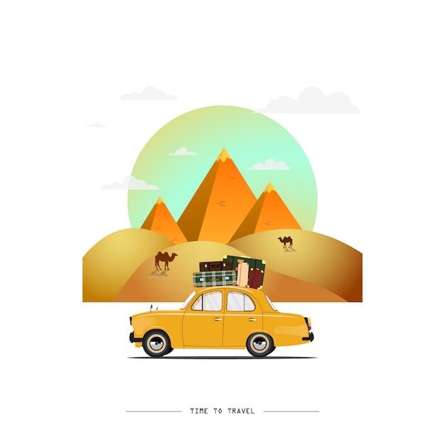 Ilustração de carro viajando Vetor Premium