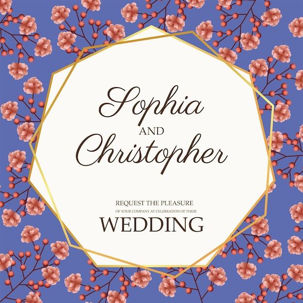 Ilustração de cartão de convite de casamento com moldura dourada e flores rosa Vetor Premium