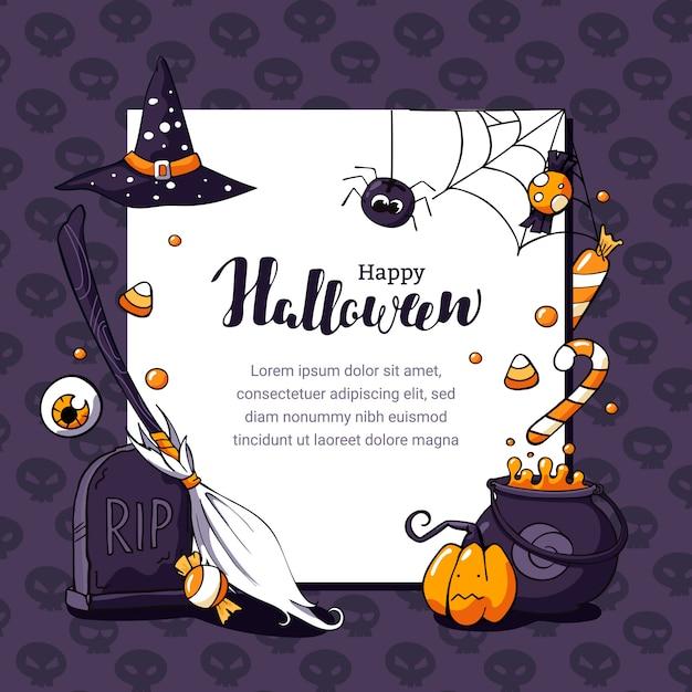 Ilustração de cartão postal de halloween com tema assustador e espaço para texto Vetor Premium