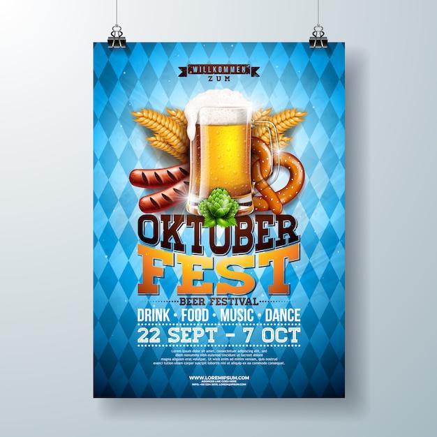 Ilustração de cartaz de festa oktoberfest Vetor Premium