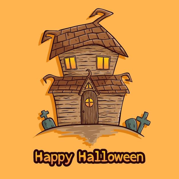 Ilustração de casa de halloween com mão colorido desenhado estilo em fundo laranja Vetor Premium