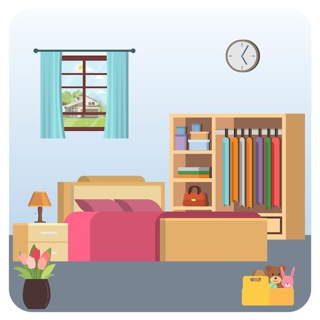 Ilustração de casa de quarto interna Vetor Premium