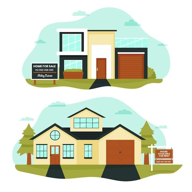 Ilustração de casa para venda ou aluguel Vetor grátis