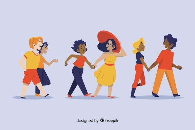 Ilustração de casais desfrutando caminhando juntos Vetor grátis