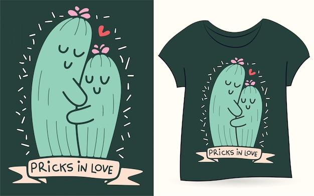 Ilustração de casal de cacto para camiseta Vetor Premium