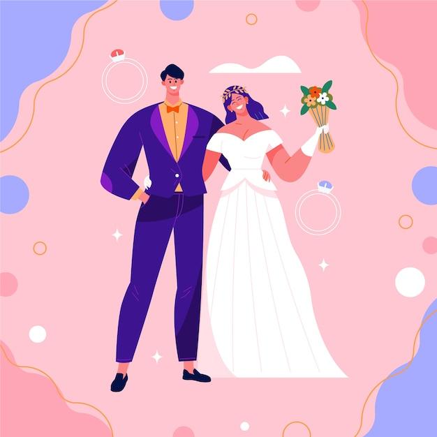 Ilustração de casal sorridente de casamento Vetor grátis