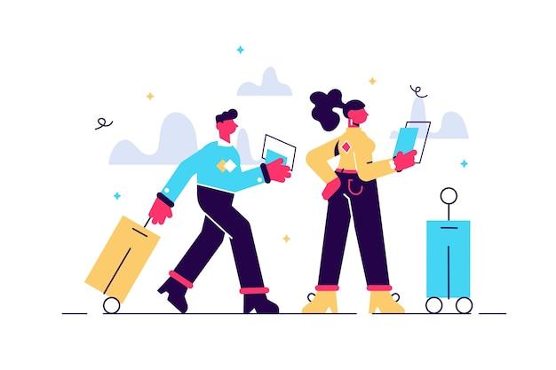 Ilustração de casal viajando com bagagem Vetor Premium