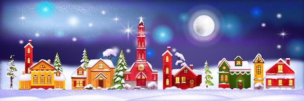 Ilustração de casas de férias de inverno de natal com aldeia noturna em montes de neve, pinheiros, lua Vetor Premium