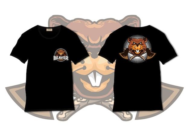 Ilustração de castor com desenho de camiseta desenhada à mão Vetor Premium