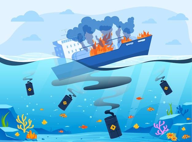 Ilustração de catástrofe de eco da indústria de petróleo e gás. Vetor Premium