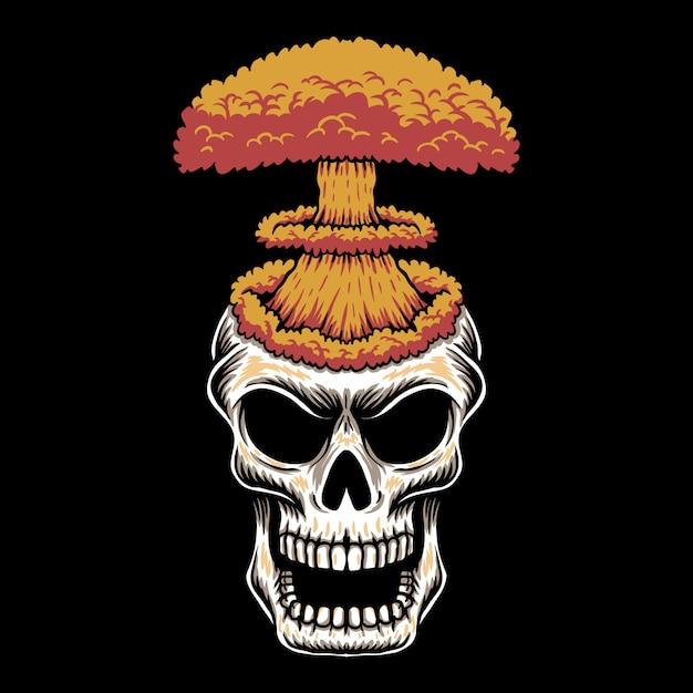 Ilustração de caveira cabeça nuke Vetor Premium
