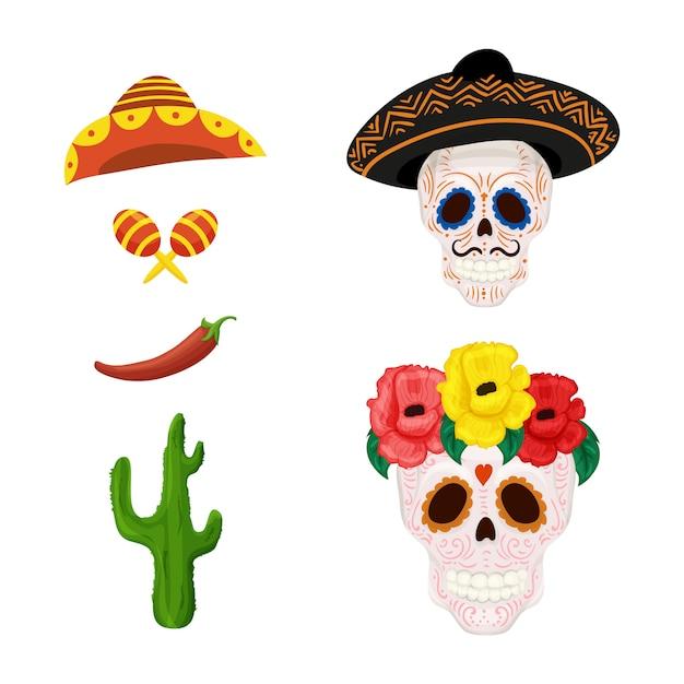 Ilustração de caveira de açúcar mexicano dos desenhos animados e objetos para cinco de mayo Vetor Premium