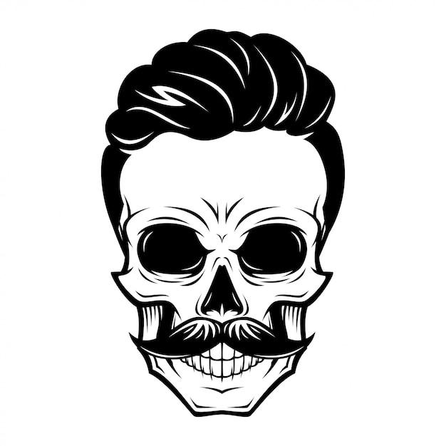 Ilustração de caveira de homens de barbeiro Vetor Premium